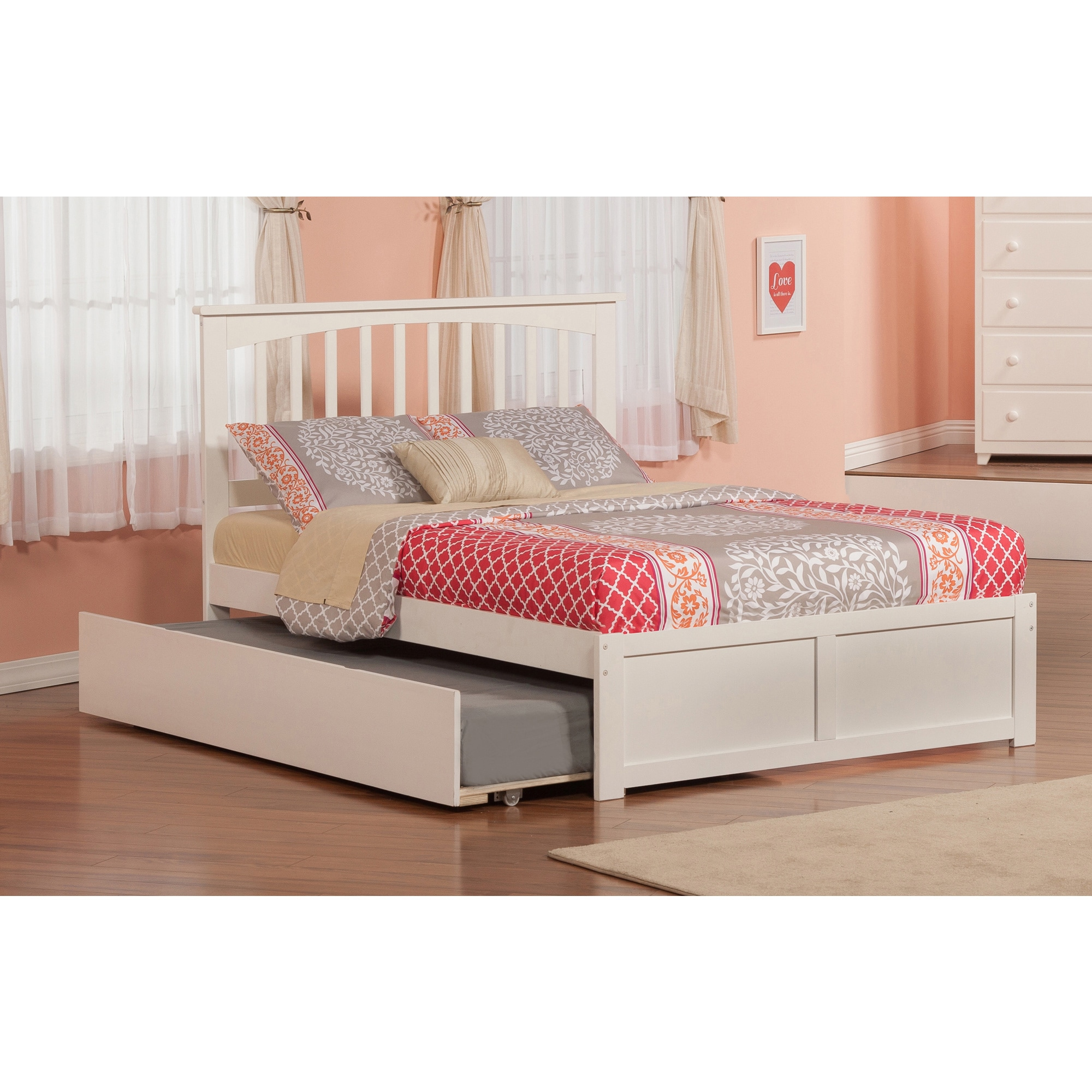 Atlantic Furniture Atlantic Mission White Wood Full Bed with Flat-panel Foot Board and Urban Trundle