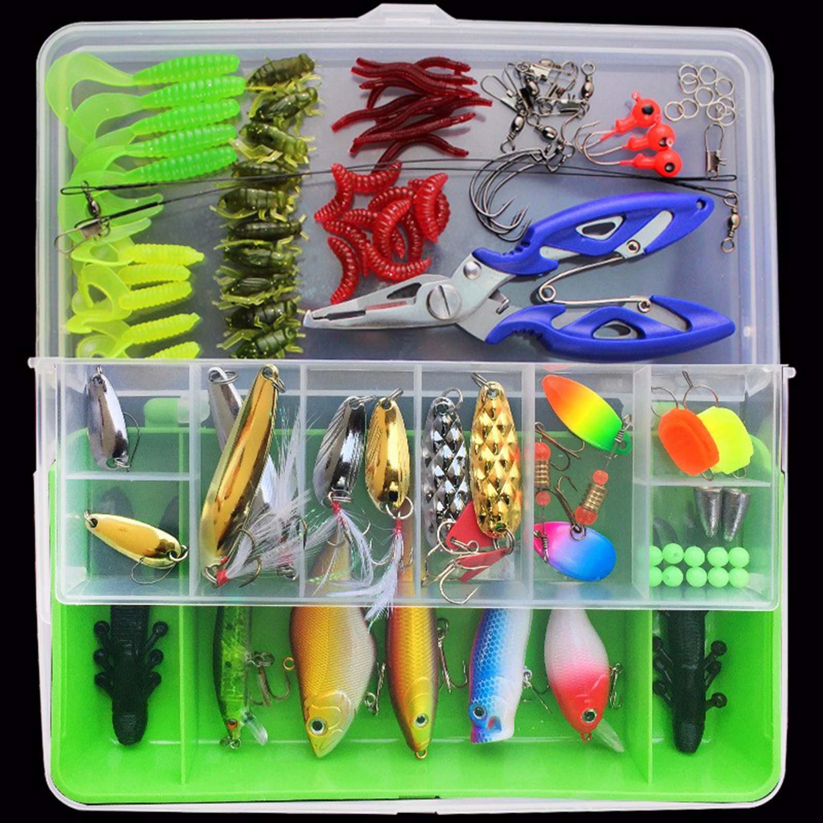 Fishing Accessories 100Pcs Fishing Kit Hard Soft Bait Lure Fishhooks Tools Tackle Box Set for Saltwater & Freshwater Fishing Color:green