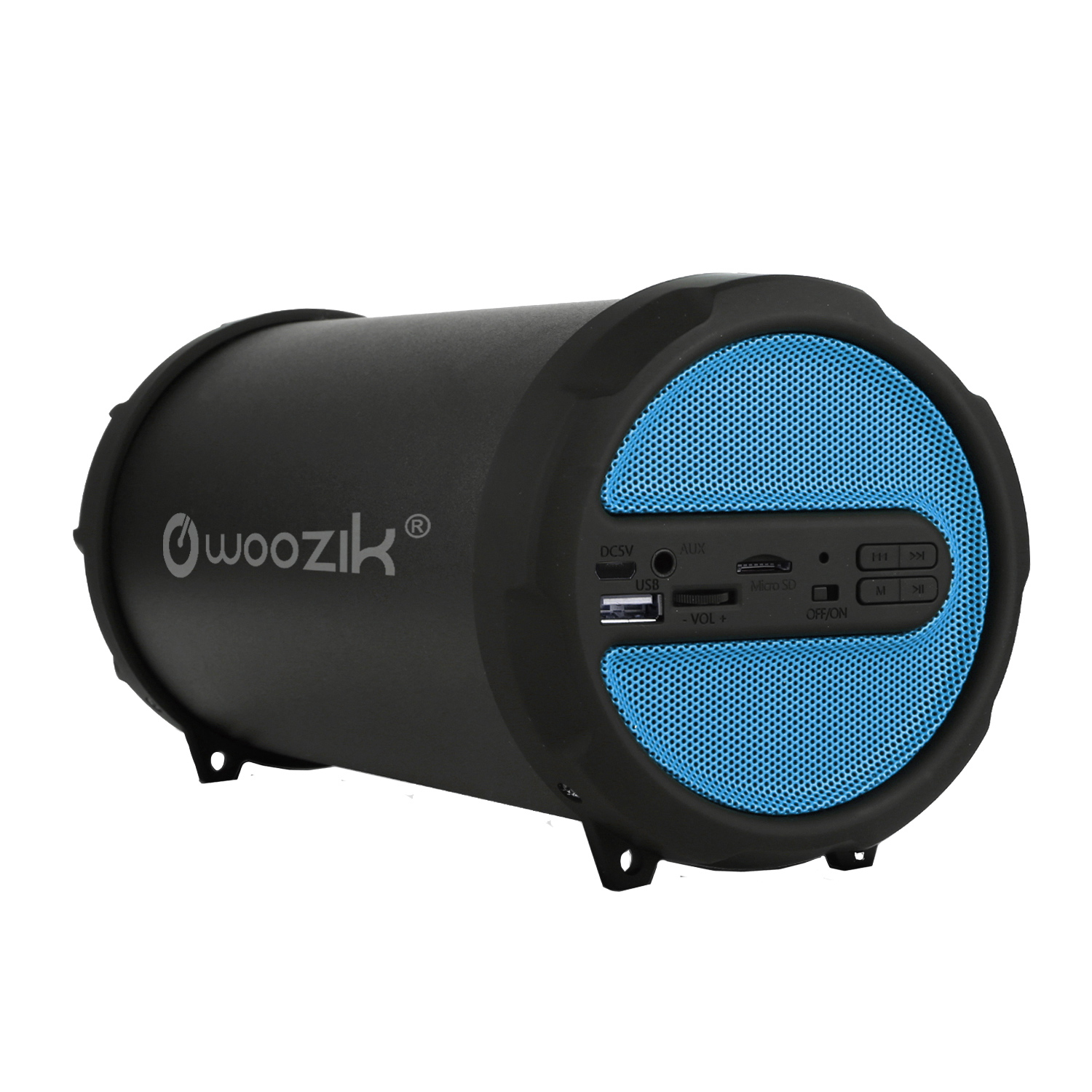Woozik S213 Portable Loud Party Indoor Outdoor Bluetooth Speaker with  Dancing LED Lights, Micro SD Card, USB, AUX, FM Radio, Rechargeable Battery, Strap (LED-Black)