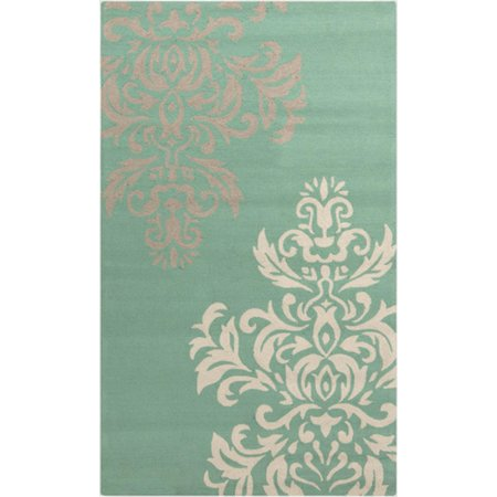 5 X 8 Dashing Damask Mint Green White And Gray Hand