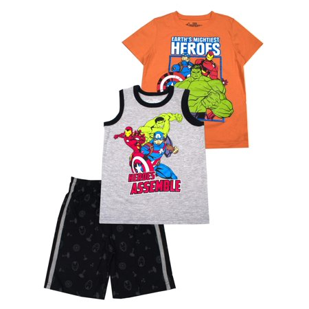 Hero Muscle Tank, Tee, and Shorts, 3-Piece Outfit Set (Little Boys) (Super Hero Outfit)