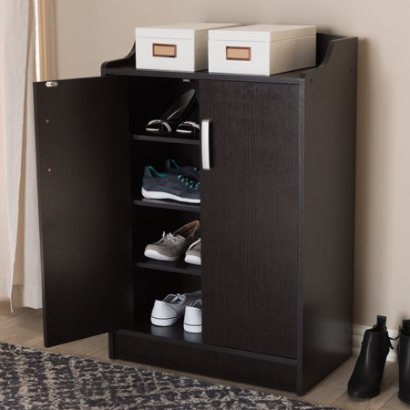 - Baxton Studio Verdell Modern and Contemporary Wenge Brown Finished Shoe Cabinet