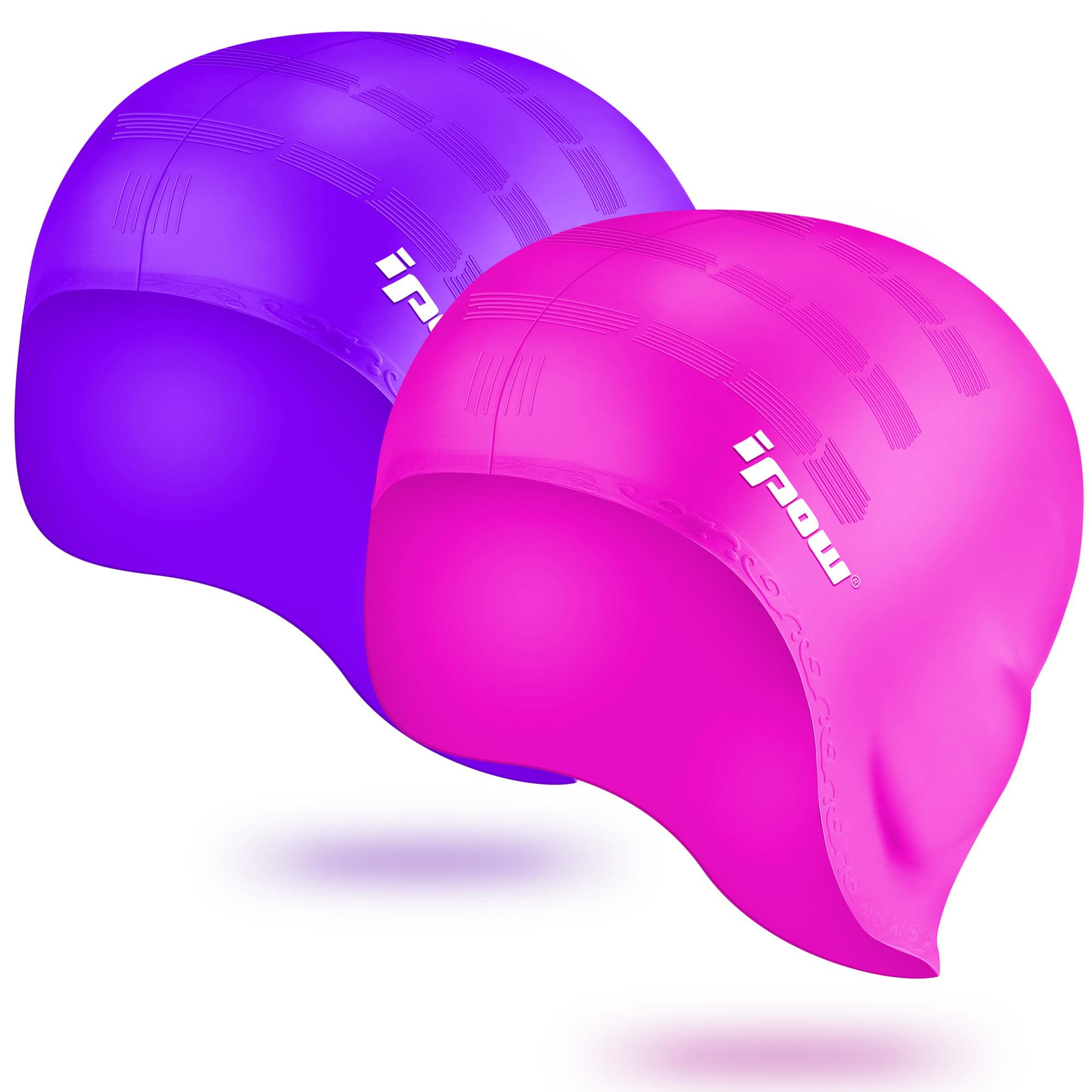 2-Pack Silicone Swim Caps, IPOW Waterproof Swimming Cap Hat Swim Caps for Women Men Adults Long Hair Kids Girls and Boys, Purple + Rose Red
