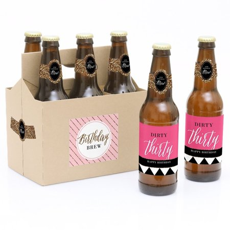 Label Carrier - Chic 30th Birthday Party Decorations for Women and Men - 6 Beer Bottle Label Stickers and 1 Carrier