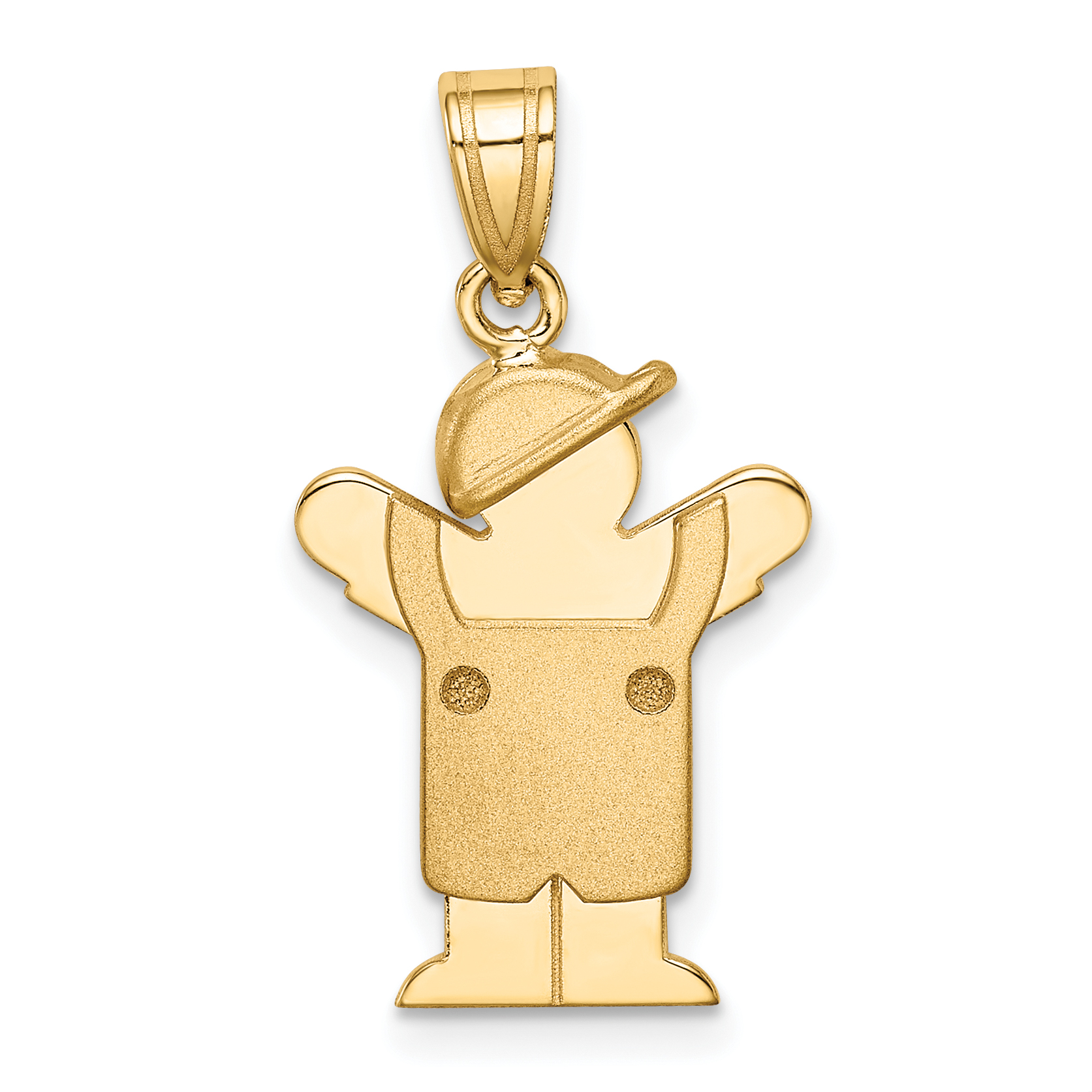 14K Yellow Gold Solid Engravable Boy in Overalls with Hat on Left Charm - image 2 of 2