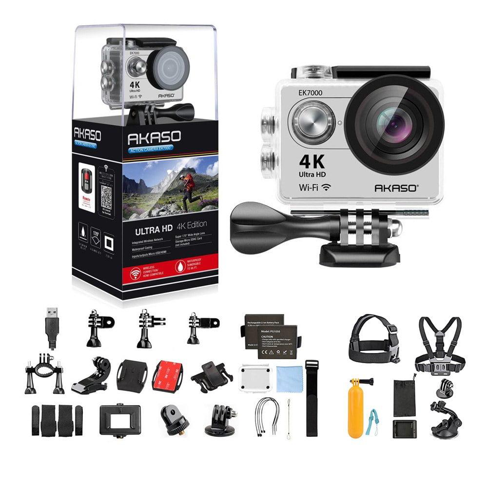 AKASO EK7000 Ultra HD 4K WIFI 170 Degree Wide Waterproof Sports Action DV Camcorder Silver (EK7000) with 7 in 1 Camera Accessories (Black)