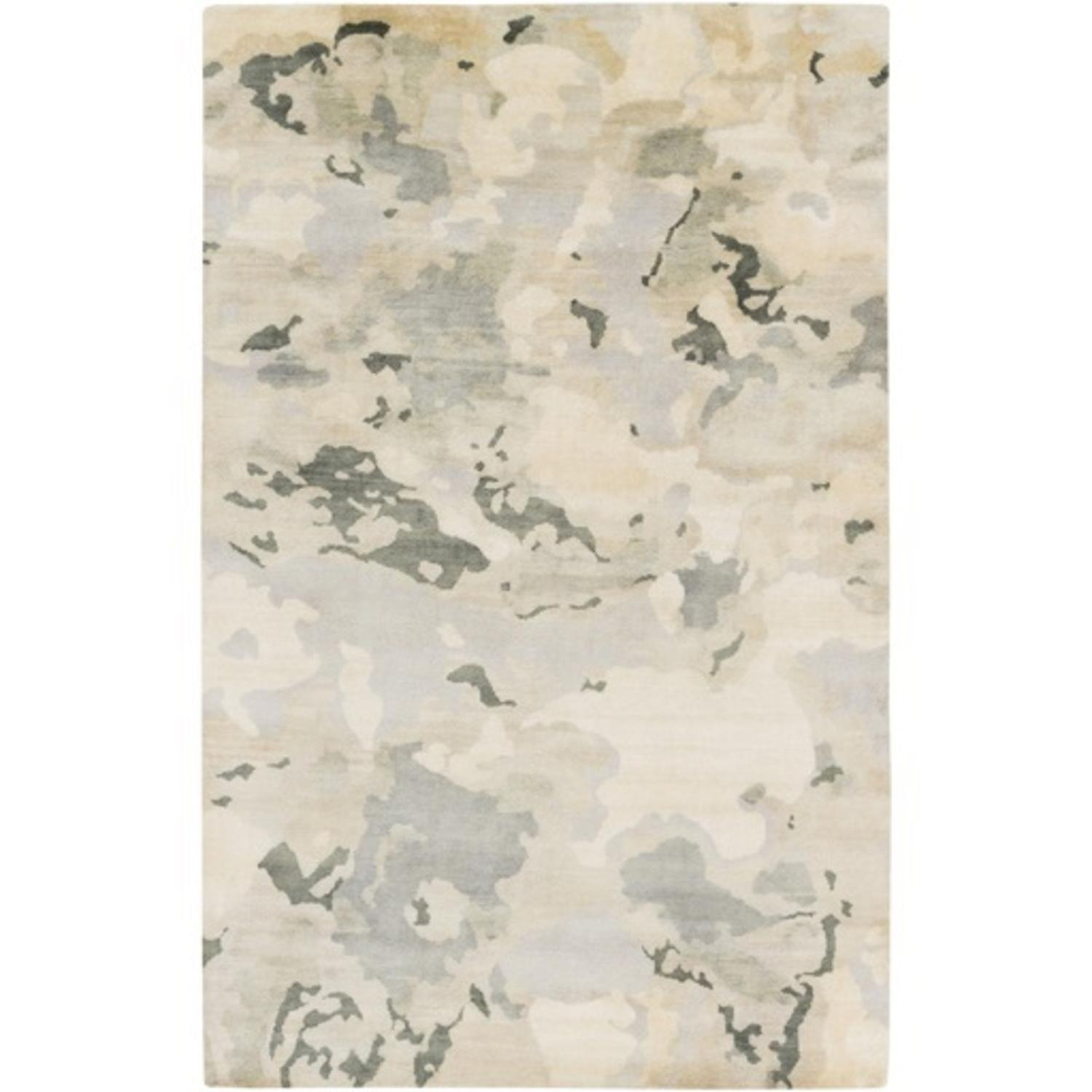 9' x 13' Forest Green and Slate Gray Leafy Camouflage Lustrous Sheen Wool Area Throw Rug