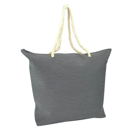DALIX Elegant Woven Canvas Tote Bag Navy Blue w/ Rope Handle