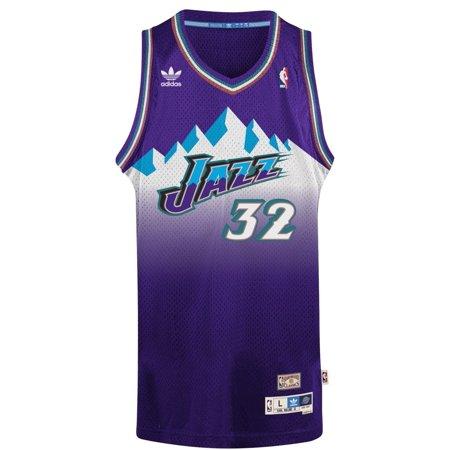 """Karl Malone Utah Jazz Adidas NBA Throwback Swingman """"Mountains"""" Jersey Purple by"""