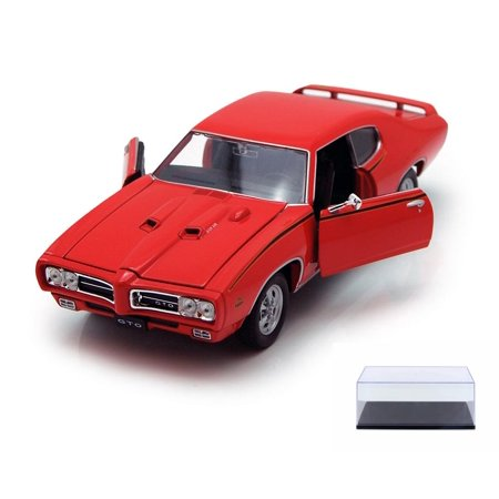Diecast Car & Display Case Package - 1969 Pontiac GTO, Orange - Welly 22501 - 1/24 scale Diecast Model Toy Car w/Display