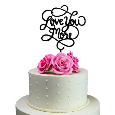 Sugar Yeti Love You More Unique Wedding Cake Topper Solid Black Monogram Calligraphy Made From Food Grade Acrylic Designed And Manufactured In California Usa Free Shipping