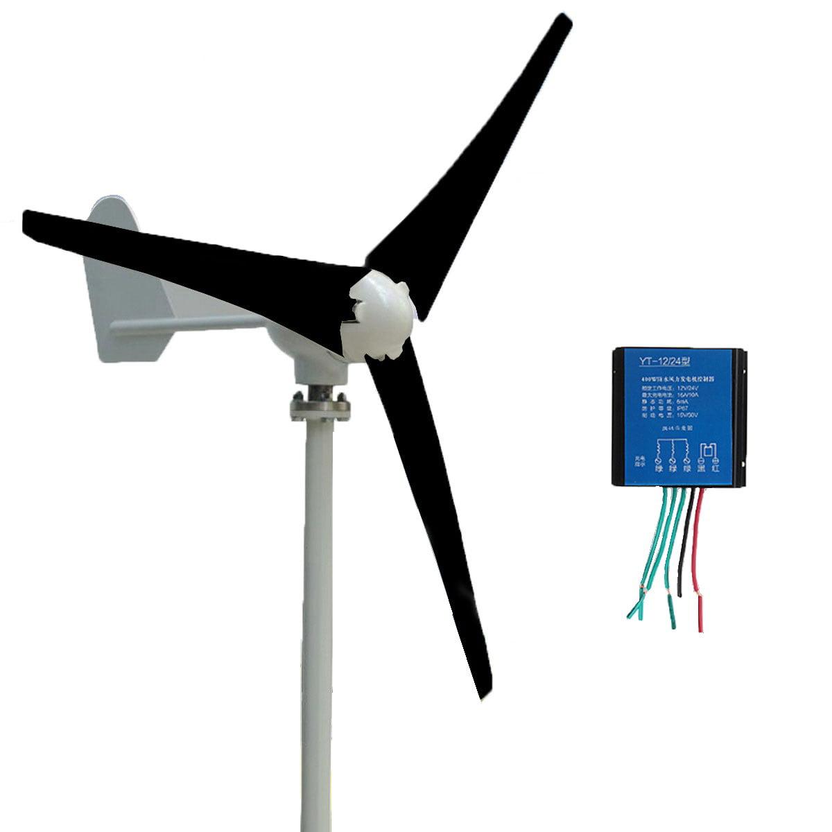 400W Power 3 Blade Wind Turbine Generator Kit AC 12 24V Aerogenerator with Windmill Charge... by