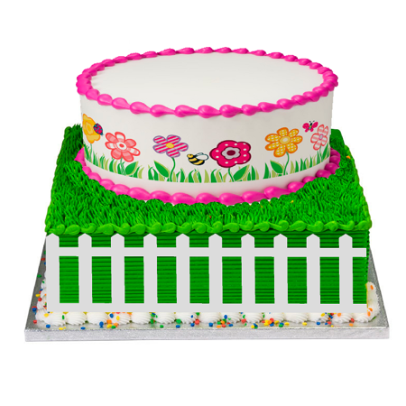 White Fence Stick On Paper Cake Decoraiton Topper Kit with Plaque