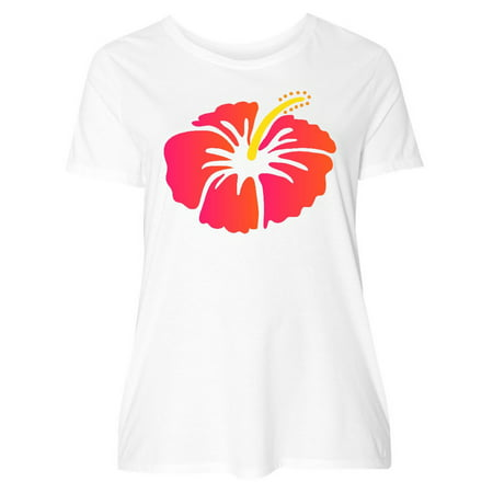 Inktastic Hibiscus Flower Tropical Floral Womens Plus Size T