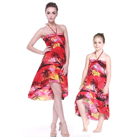 Matching Hawaiian Luau Mother Daughter Butterfly Dress in Sunset Red XL-2