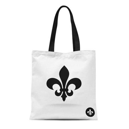 ASHLEIGH Canvas Tote Bag Symbol Fleur De Lis Simple Elegant Black Silhouette Antique Durable Reusable Shopping Shoulder Grocery Bag