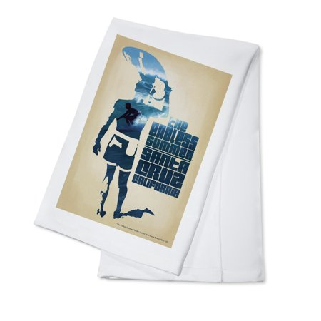 The Endless Summer - Surfer Cutout Scene - Santa Cruz, CA - Lantern Press Artwork (100% Cotton Kitchen Towel)](Santa Cutouts)