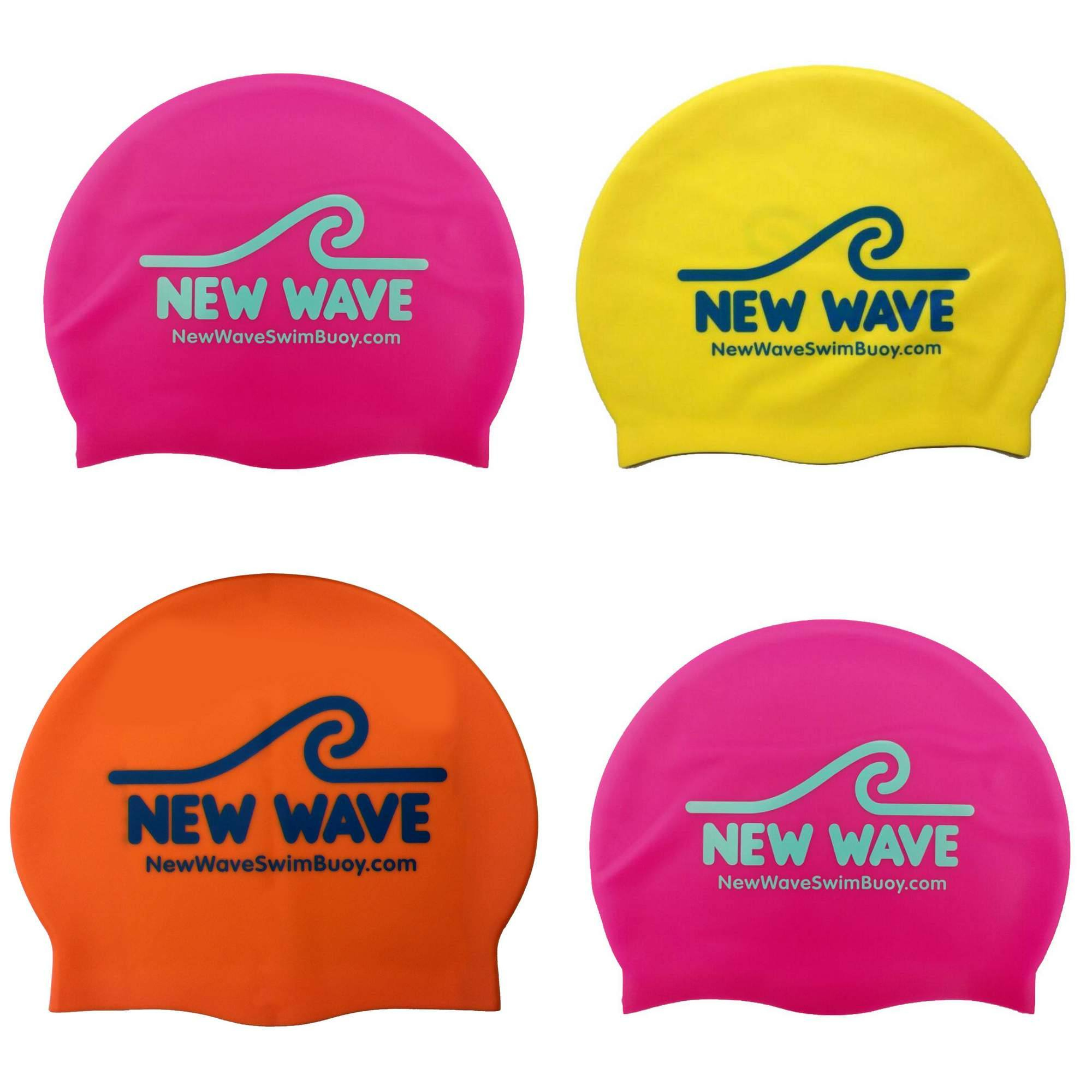 New Wave Silicone Swim Cap - 3 colors (Pink, Yellow & Orange)~Orange