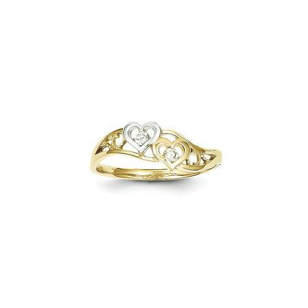10k & Rhodium Double Heart CZ Ring