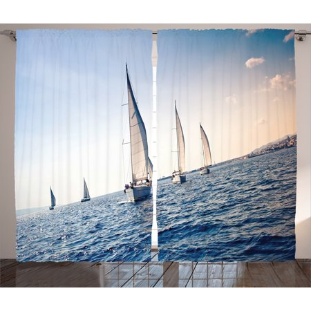 Nautical Curtains 2 Panels Set, Racing Sailboats in Mediterranean Sea Adventure Winner Sports Freedom Photo, Living Room Bedroom Decor, Blue White, by Ambesonne