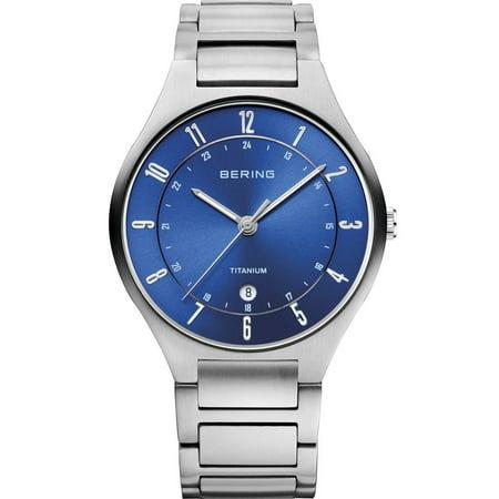 Men's 39mm Silver-Tone Titanium Bracelet & Case Sapphire Crystal Quartz Blue Dial Watch 11739-707