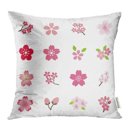 CMFUN Pink Flower Cherry Blossom Sakura Petal Branch Bloom Silhouette April Wedding Pillowcase Cushion Cases 20x20 - Sakura Petals