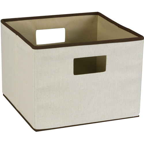 Household Essentials Dual-Handle Canvas Storage Bin with Brown Trim