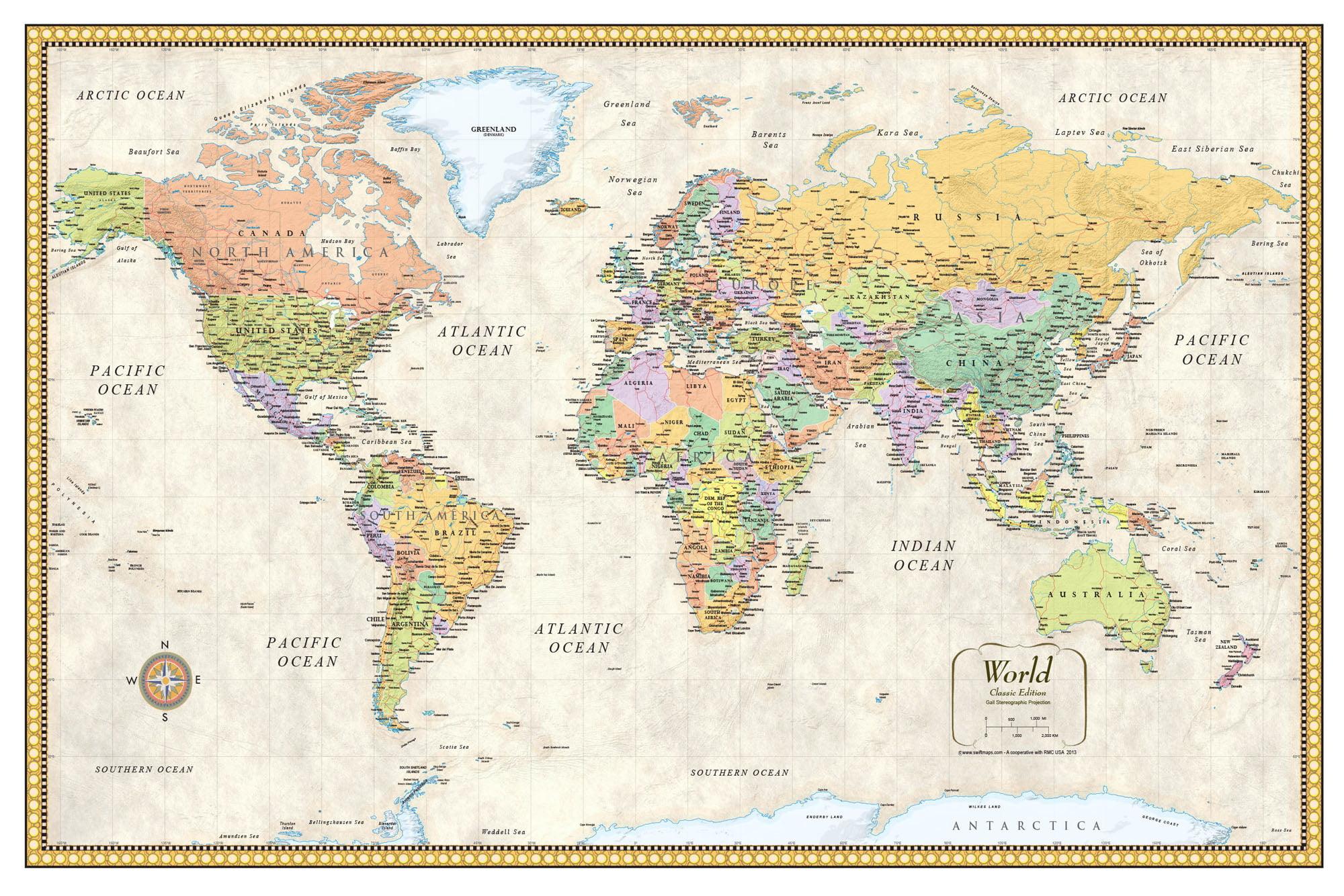 Picture of: World Map Poster X Walmart Com Walmart Com