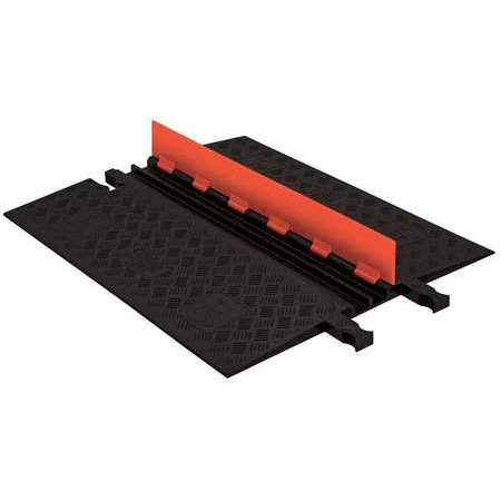 Checkers Industrial Safety Products GD2X75-O-B Polyurethane Heavy Duty 2 Channel Low Profile Cable Protector with ADA Compliant Ramp, Orange Lid with Black Ramp Ada Compliant Accessories