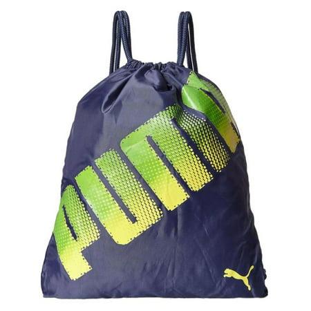 Puma Stamped Carrysack Sack Pack Navy Blue & Green Cinch Bag Sackpack Tote (Puma Women Bag)