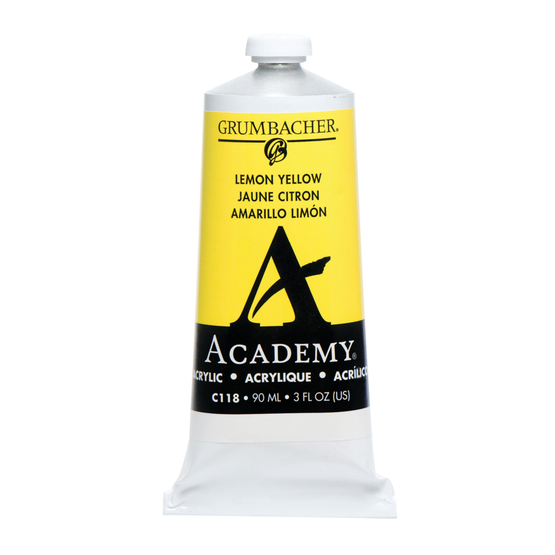 Grumbacher Academy Acrylic, 90ml Tube, Lemon Yellow