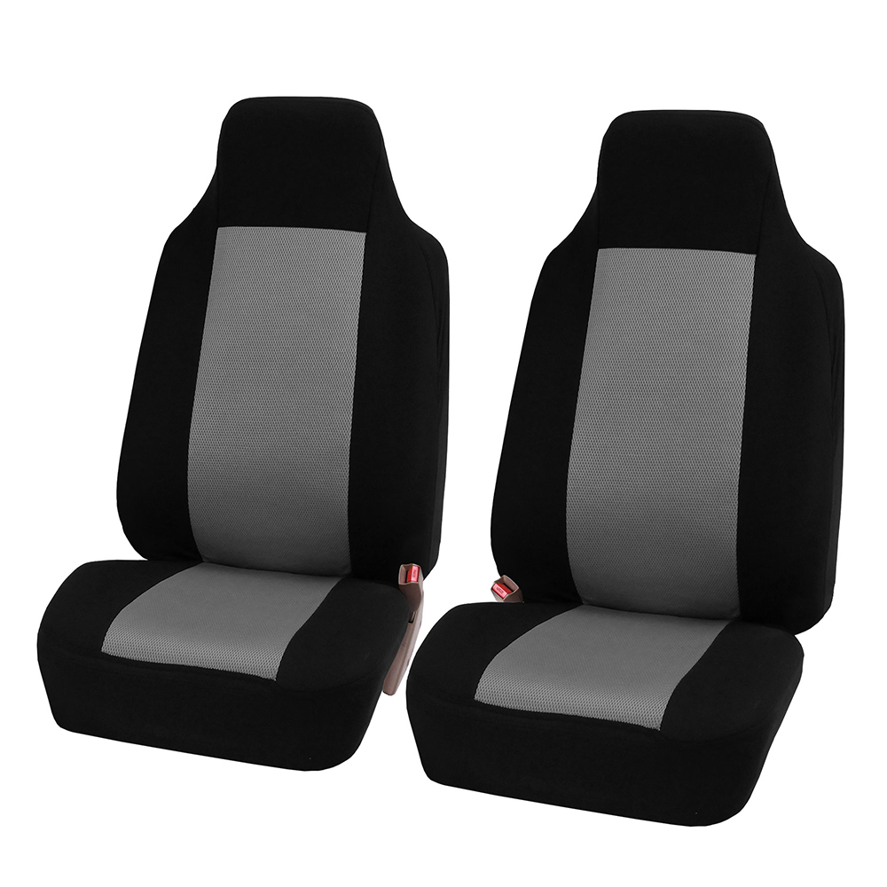 FH Group 3D Air-mesh Car Seat Covers, Front Set, Gray and Black