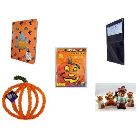 Halloween Fun Gift Bundle [5 Piece] -  Ghost Pumpkin Push In 5 Piece Head Arms Legs - Black Plastic Table Cover  - Darice Pumpkin Face Fun Felt Kit - Stitches -  Pumpkin Plastic on Wire Decoration - - Spiderman Pumpkin Push In