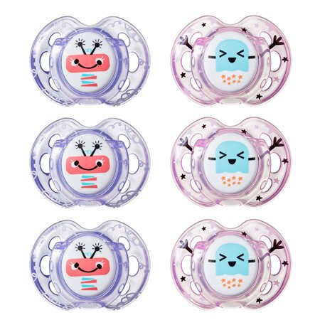 Tommee Tippee Closer to Nature, Fun Style Baby Pacifier, 0-6m, 6pk, Girl