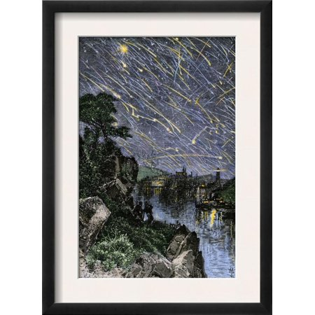 Remarkable Meteor Shower over the Mississippi River, 1833 Framed Art Print Wall Art
