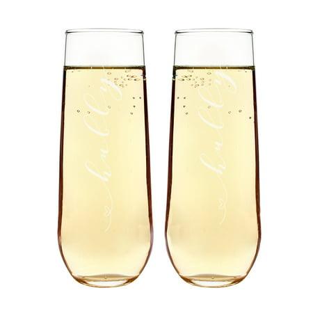 dbb0b643615 Hubby & Hubby Stemless Champagne Flutes - Walmart.com
