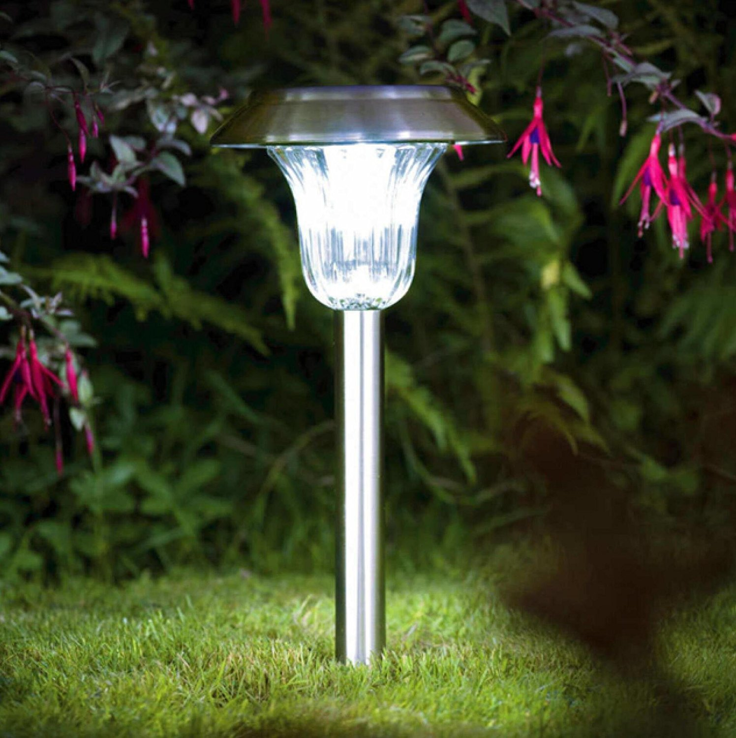 Beau Sogrand 4pcs,Solar Lights Outdoor,Dual Color White Blue LED Stainless Steel, Solar