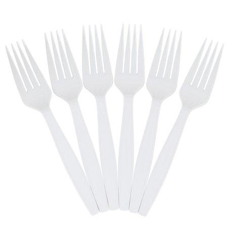 JAM Paper Big Party Pack of Premium Utensils - Plastic Forks - White - 100 Disposable Forks/Box (Montana Big Fork)