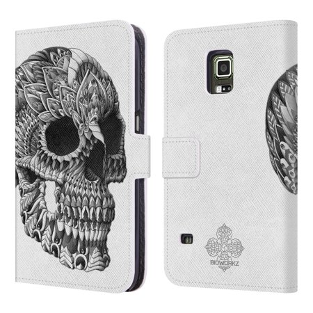 OFFICIAL BIOWORKZ SKULLS LEATHER BOOK WALLET CASE COVER FOR SAMSUNG PHONES 3