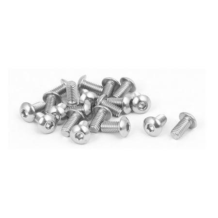 Unique Bargains M4x8mm 316 Stainless Steel Round Button Head Hex Socket Cap Screw Bolt 20pcs - image 2 de 2