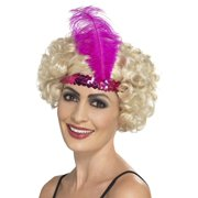 """29.5"""" Pink 1920's Style Flapper Women Adult Halloween Headband Costume Accessory - One Size"""