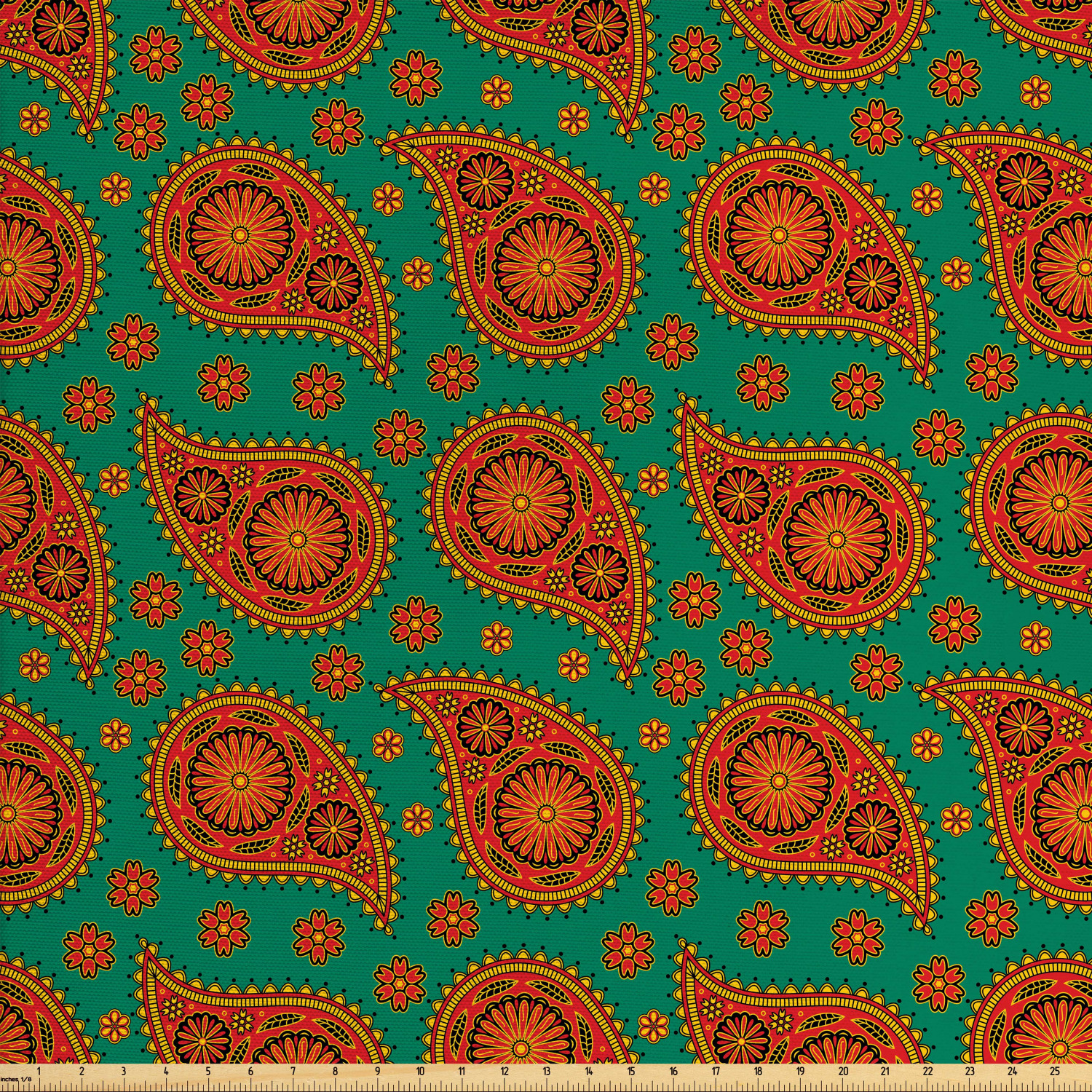 View Fall Paisley Teal And Orange Digital Papers SVG