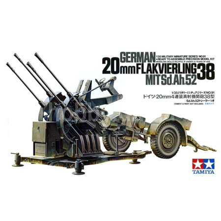 Tamiya 35091 WWII German 20mm Flakvierling 38 Anti-Aircraft Gun 1/35 Scale Kit