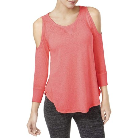 Calvin Klein Womens Performance Cold Shoulder Long Sleeve Top