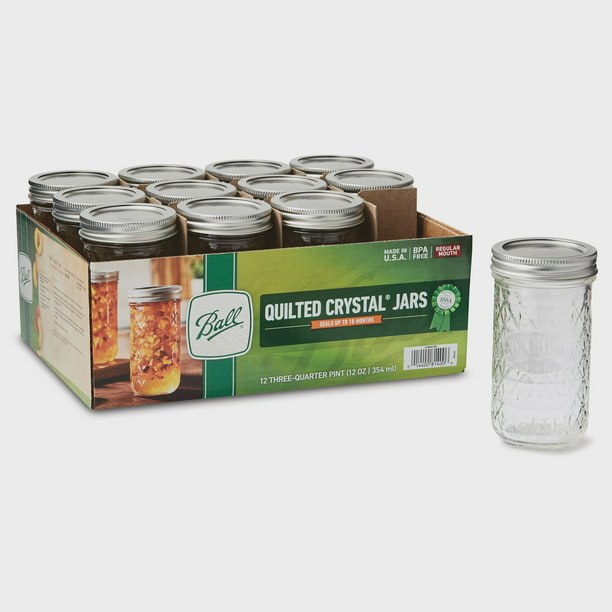 Ball Quilted Crystal Mason Jars With Lid & Bands, Regular Mouth, 12 oz, 12 Count