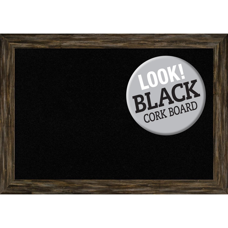 Amanti Art Framed Black Cork Board, Fencepost Brown Narrow