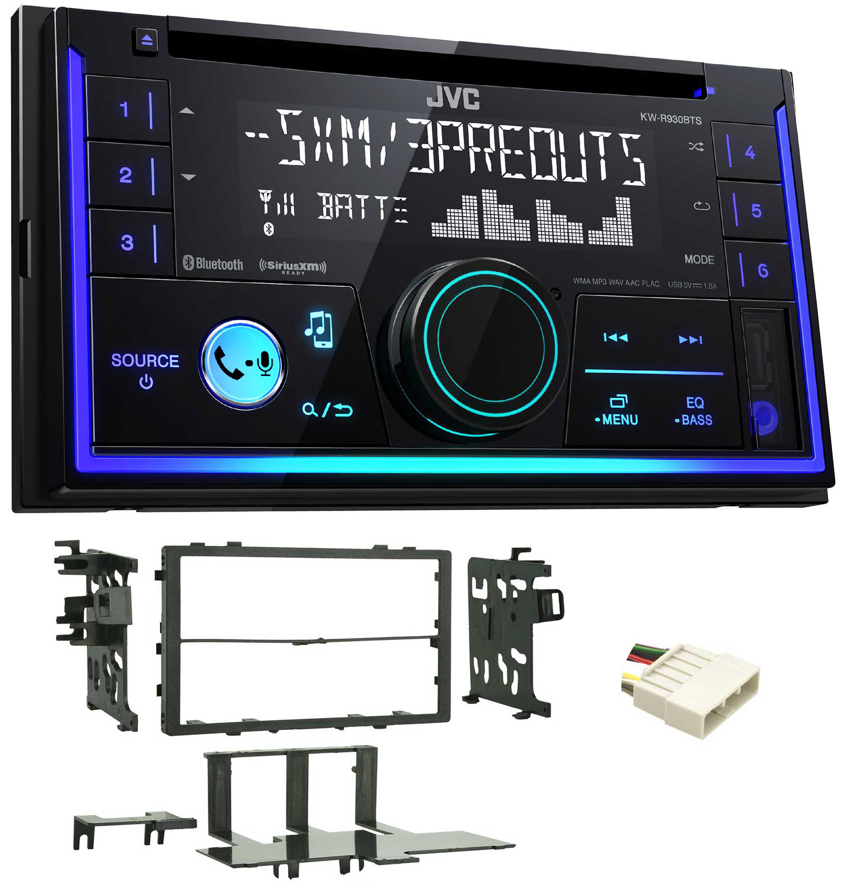 JVC Stereo CD Receiver W/Bluetooth/USB/iPhone/Sirius For