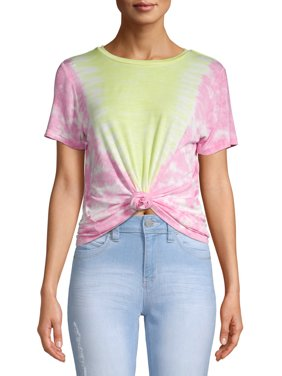 No Boundaries Juniors' Tie Dye Front Knot T-Shirt