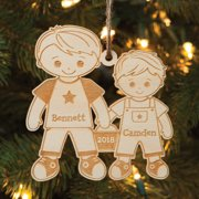 Personalized Big Brother & Little Brother Wood Christmas Ornament