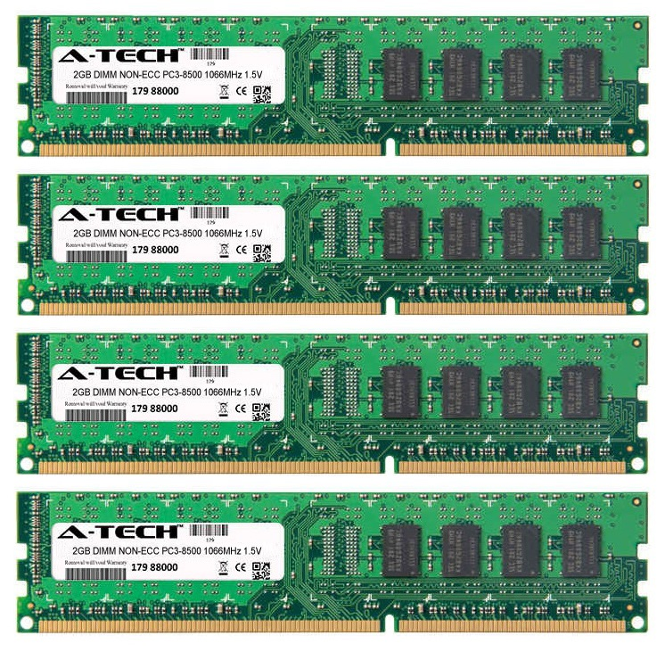 8GB Kit 4x 2GB Modules PC3-8500 1066MHz 1.5V NON-ECC DDR3 DIMM Desktop 240-pin Memory Ram